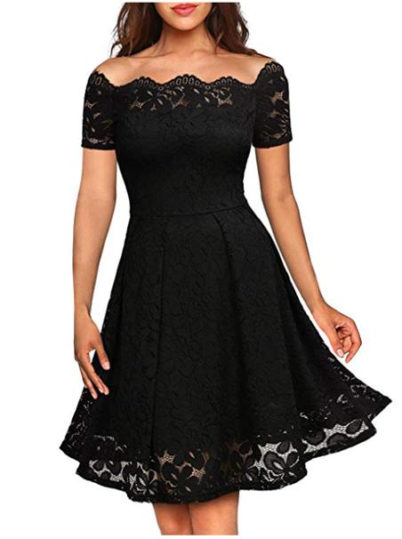vestido de fiesta negro encaje amazon