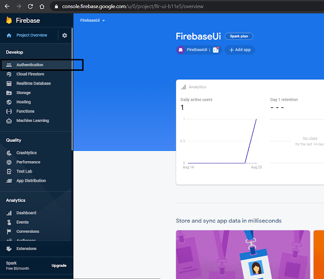 Firebase Authentication in Firebase Console