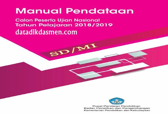 Modul Manual Sistem Pendataan Calon Peserta Ujian Nasional Daring Jenjang SD Tahun 2018 - 2019