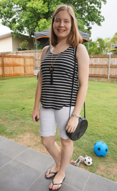 monochrome black stripe tank with white bermuda denim shorts tortoiseshell accessories straw bag | away from blue