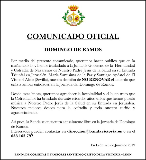 La Banda de Cornetas y Tambores Stmo. Cristo de la Victoria (León) queda libre el Domingo de Ramos del 2020