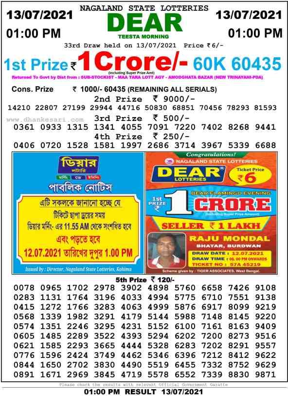 lottery sambad 13 7 2021 morning 1pm