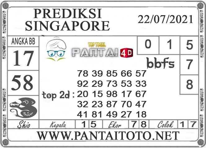 PREDIKSI TOGEL SINGAPORE PANTAI4D 22 JULI 2021