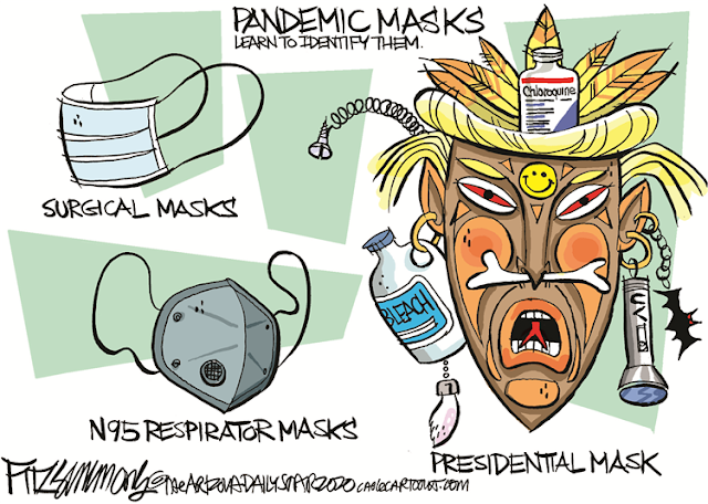 Title:  Pandemic Masks:  Learn to Identify Them.  Image one:  A surgical mask.  Imagae Two:  an N95 respirator mask.  Image Three:  A witchdoctor mask, captioned