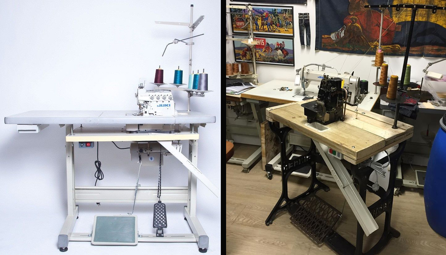Mohsin Sajid Vintage Industrial Sewing Machine Table Set Up Threading Guides Stitch Nerd Above Left Is A Modern Which Looks Really Nice Next To Old Right With Union Special 39200 Overlocker Thread