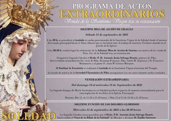 Programa de Actos Extraordinarios con motivo de la venida de la Santísima Virgen de la Soledad de Pilas tras su restauración