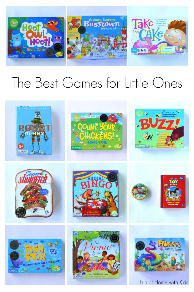 A closer look at 13 games for kids ages 3-8 with age recommendations from a former teacher.  Many of the games are only $9!  A great idea for holiday gifts from Fun at Home with Kids