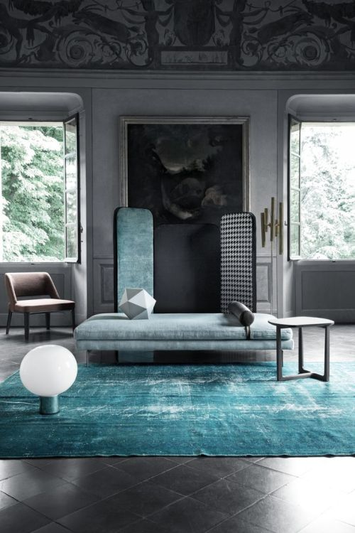 modern grey and blue living room