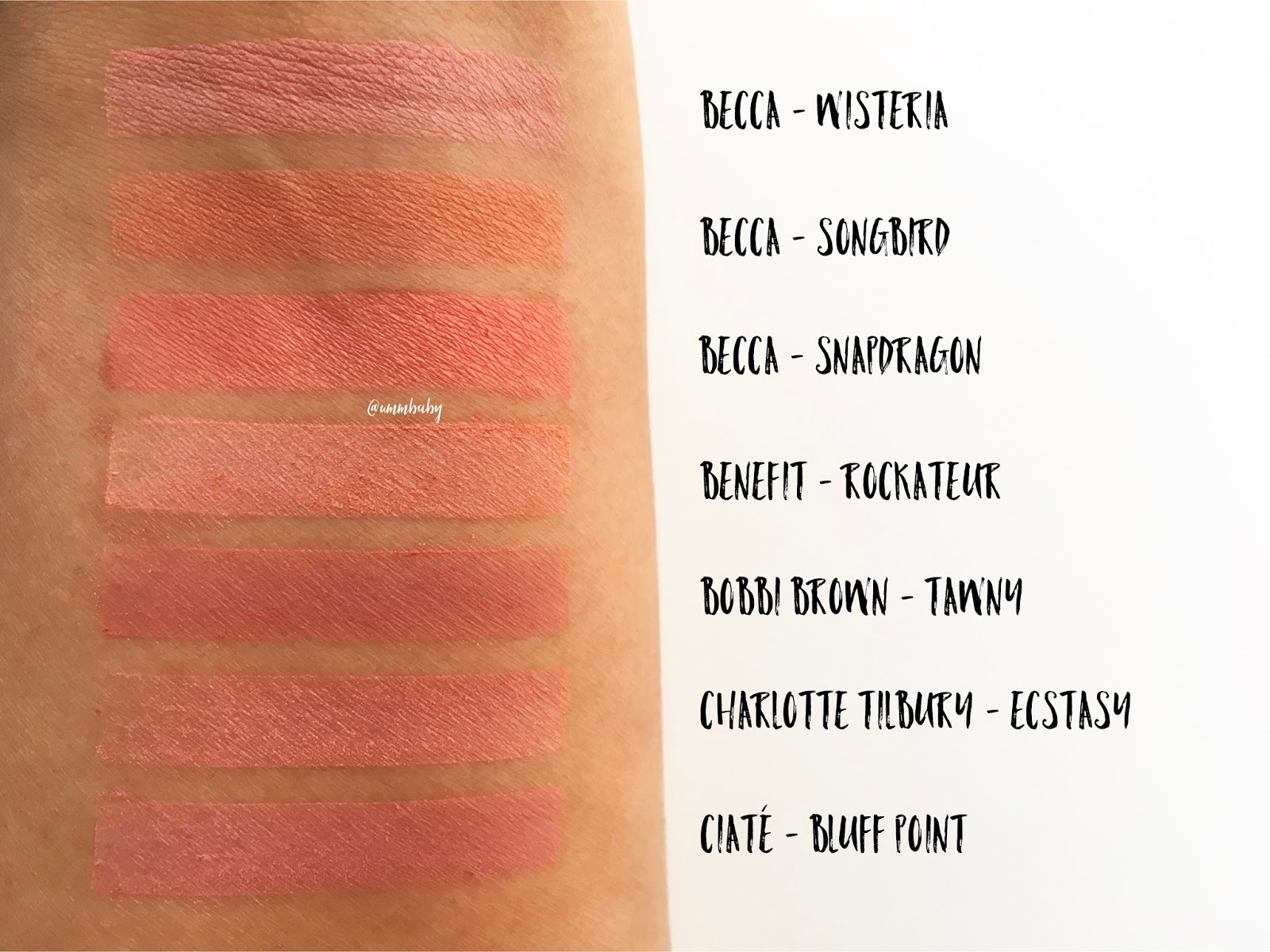 makeup swatches, blusher swatches, becca wisteria swatch, becca songbird swatch, becca snapdragon swatch, benefit rockateur medium skin swatch, bobbi brown tawny blusher swatch, nc40 swatch, charlotte tilbury ecstasy swatch, ciate bluff point swatch