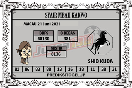 Syair Mbah Karwo Togel Macau Senin 21 Juni 2021