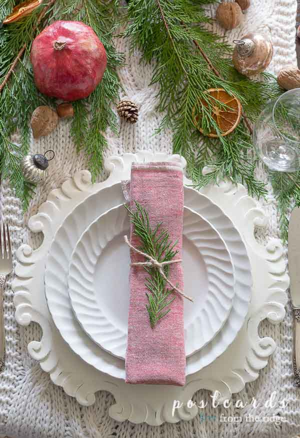 vintage white ironstone dishes on Christmas table