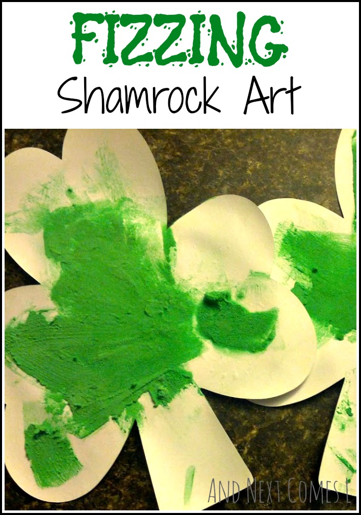 Fizzing shamrock art for St. Patrick's Day from And Next Comes L