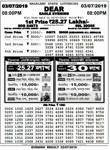 Dear Eagle Evening Lottery Results