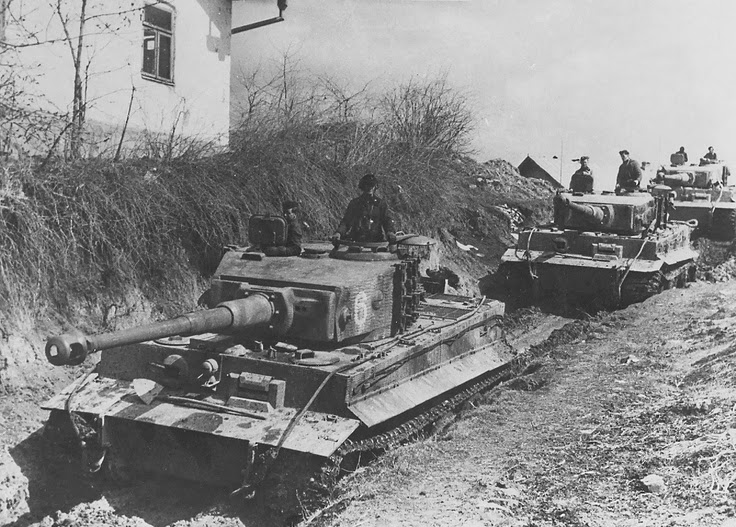 german panzer column comprising tiger tanks of 506 heavy tank battalion join the retreat of the german army in western ukraine on may 4 1944