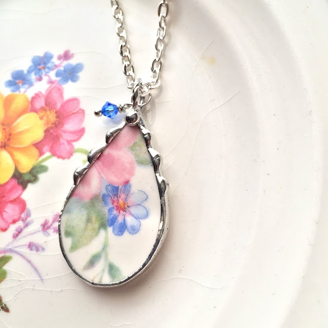 Tear shaped floral pendant necklace from Laura Beth Love