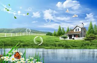 plantilla de fondo de paisaje de casa de lago para fotomontajes