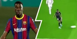 Pictures: Barcelona teenager Ilaix Moriba shows class with no-look pass against Sociedad