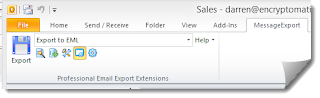 Image of Outlook toolbar shows how to convert email to .eml conversion.