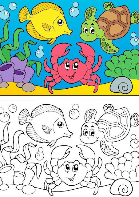 dibujo peces en el mar para colorear