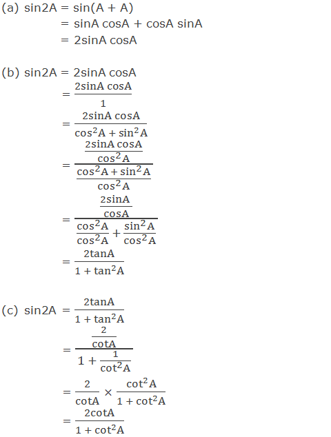Trigonometric ratios of sin2A in terms of A