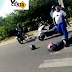 Acidente entre motos na Ponte Newton Navarro, vítima ao solo
