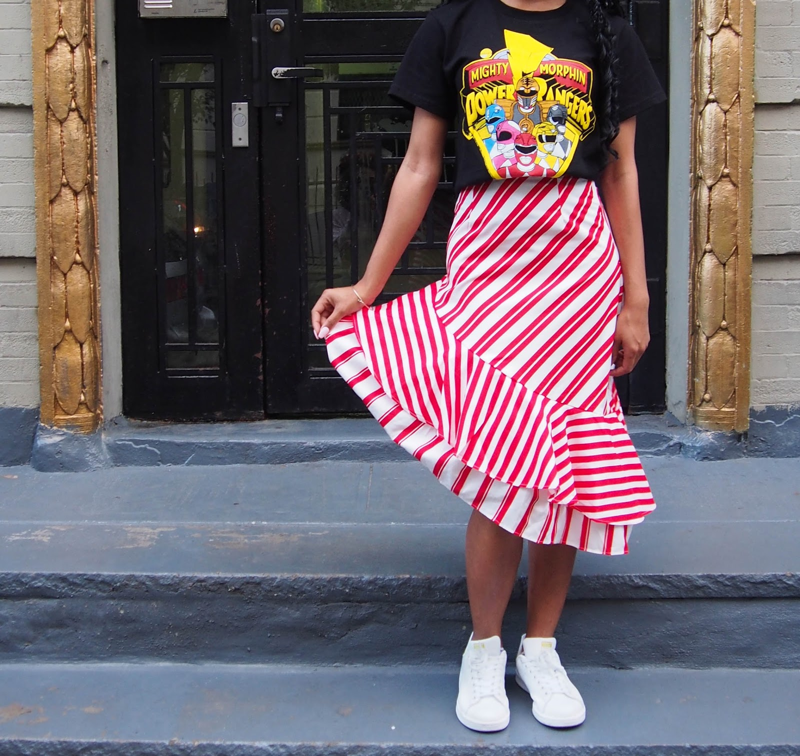The Strong Suit, Crochet Braids, Red and White Skirt, Power Rangers Graphic Tee, Stan Smiths, Adidas, Street Style, NYFW Street Style, NYFW, Spring/Summer 2020, New York Porch, Upper East Side, NC Blogger