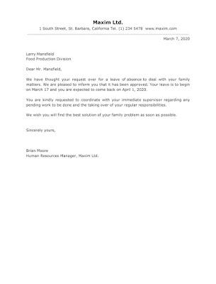Approval Letter Sample For Leave