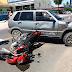 Acidente em frente à Escola Militar Aurea Braga deixa motoqueiro ferido.