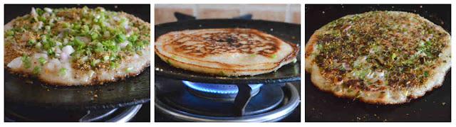 Spring Onion Podi Uthappam/Spicy Green Uthappam