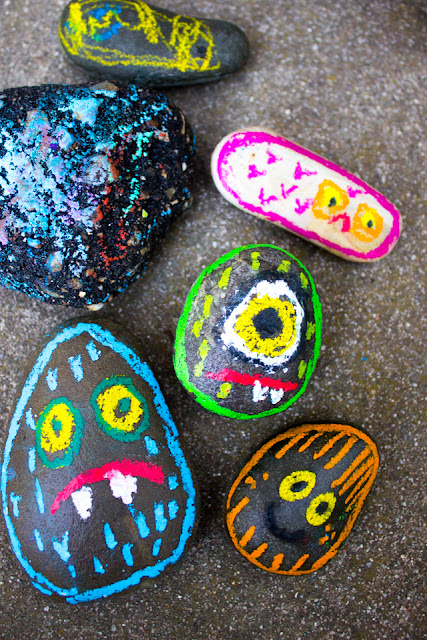 oil pastel rock monsters- great fall Halloween art project with kids