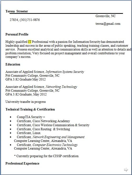 ir technologies sample resume format in word free download