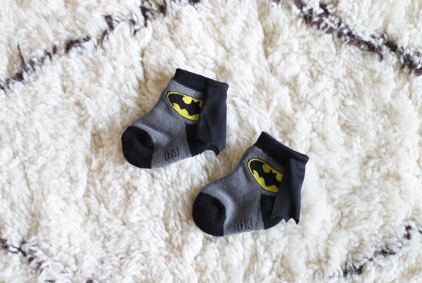 Caped Batman baby socks