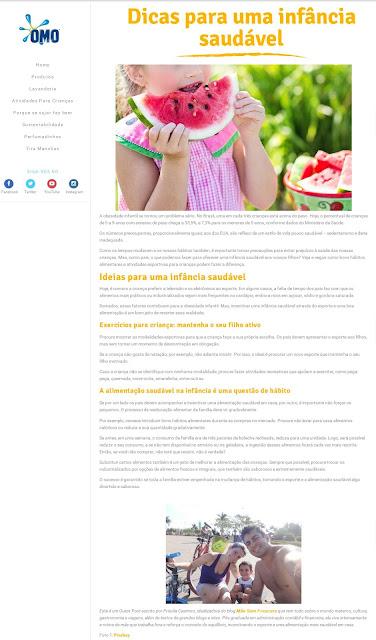 Mãe Sem Frescura - Mídia - Site Omo - Dicas para uma infância saudável