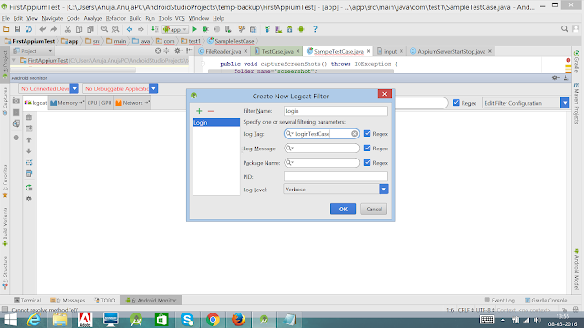 Log Appium Test Case in Android Studio