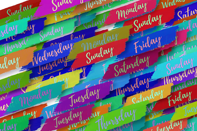 The days of the week written in script over and over again on top of variously colored brushstrokes.r