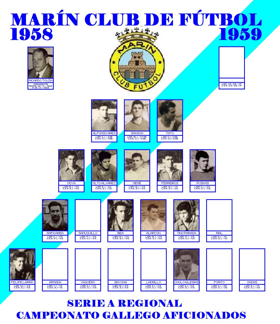 LABERINTO DEPORTIVO de Sena: MARÍN CLUB DE FÚTBOL : 1958 - 1959