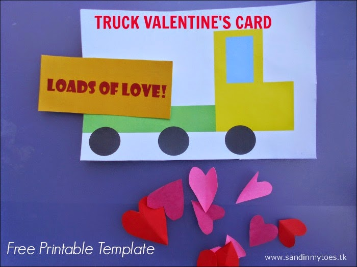 Kid-made Truck Valentine's Card with free printable template