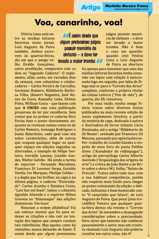 literatura paraibana cronica martinho moreira franco professor toninho bauru matematica saudade pesar