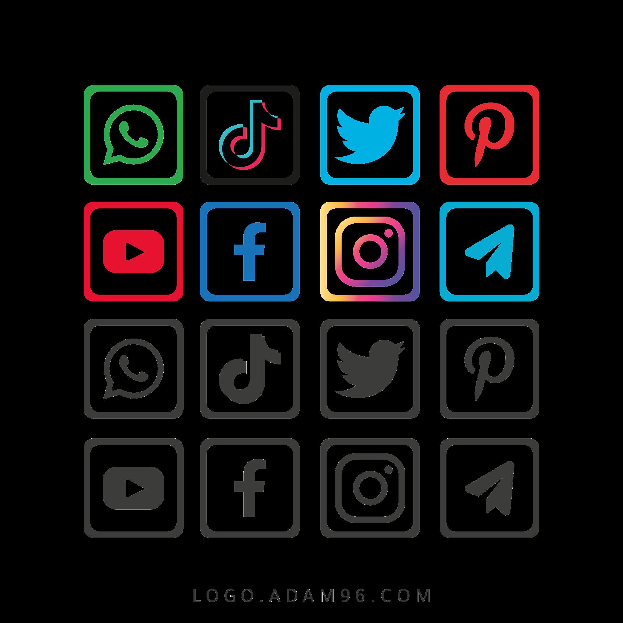 تحميل شعارات سوشيال ميديا شفافة Social Media Logos PDF - SVG