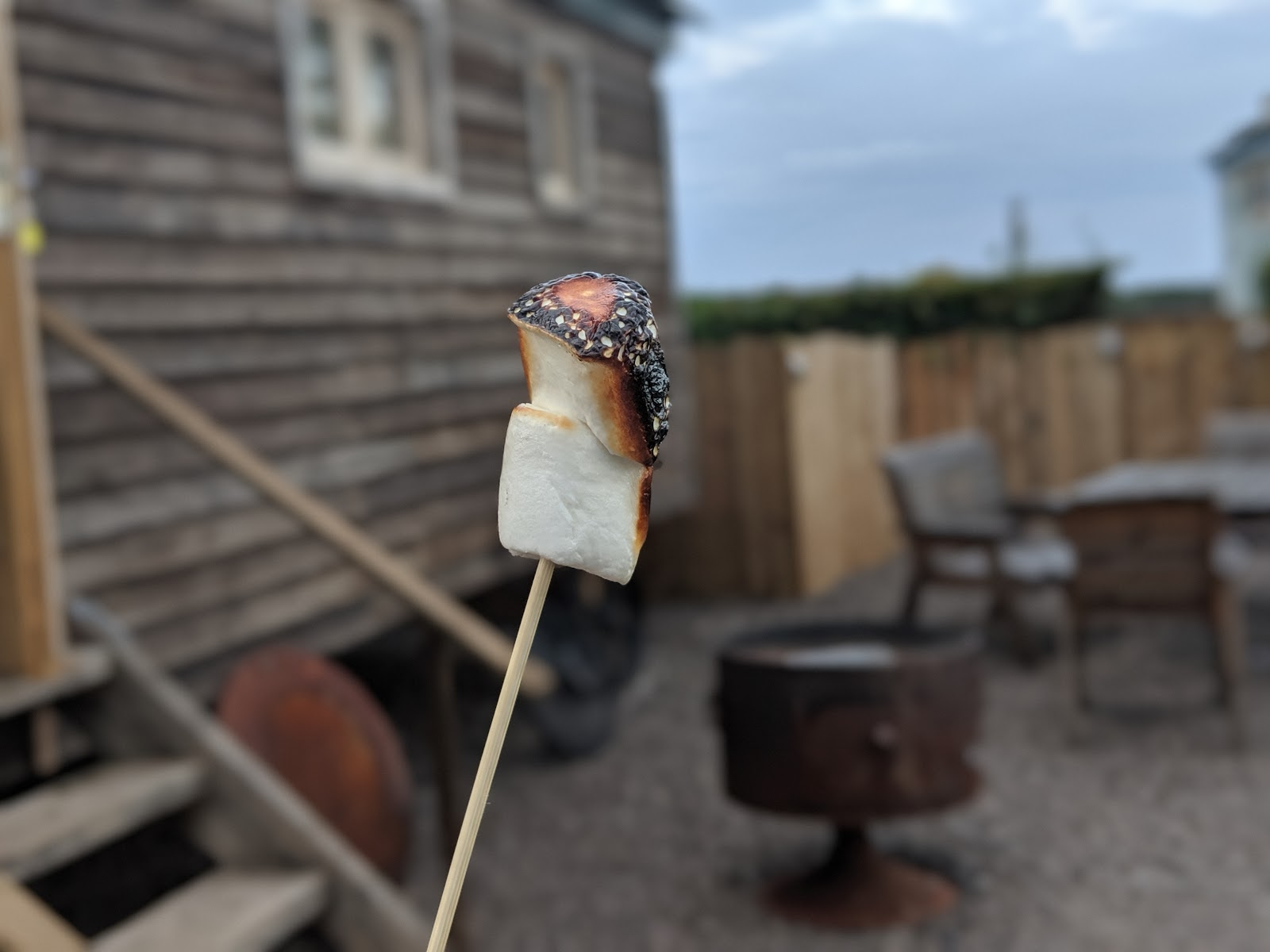 Shepherd's Retreats Beadnell Review - Dog-friendly Glamping in Northumberland - toasting marshmallows