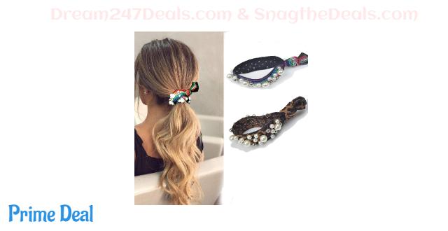 60% off Pearl Hair Tie,Elastic Hair Bands for Women Girls,2 in 1 Hair Accessories Pearl Bracelet (2)