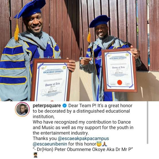 Singer Peter Okoye Bags Honorary Doctorate Degree (Photos)
