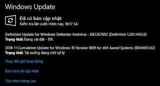 Bản cập nhật ngày 5, tháng 12, 2018 - KB4467708 cho Windows 10, version 1809