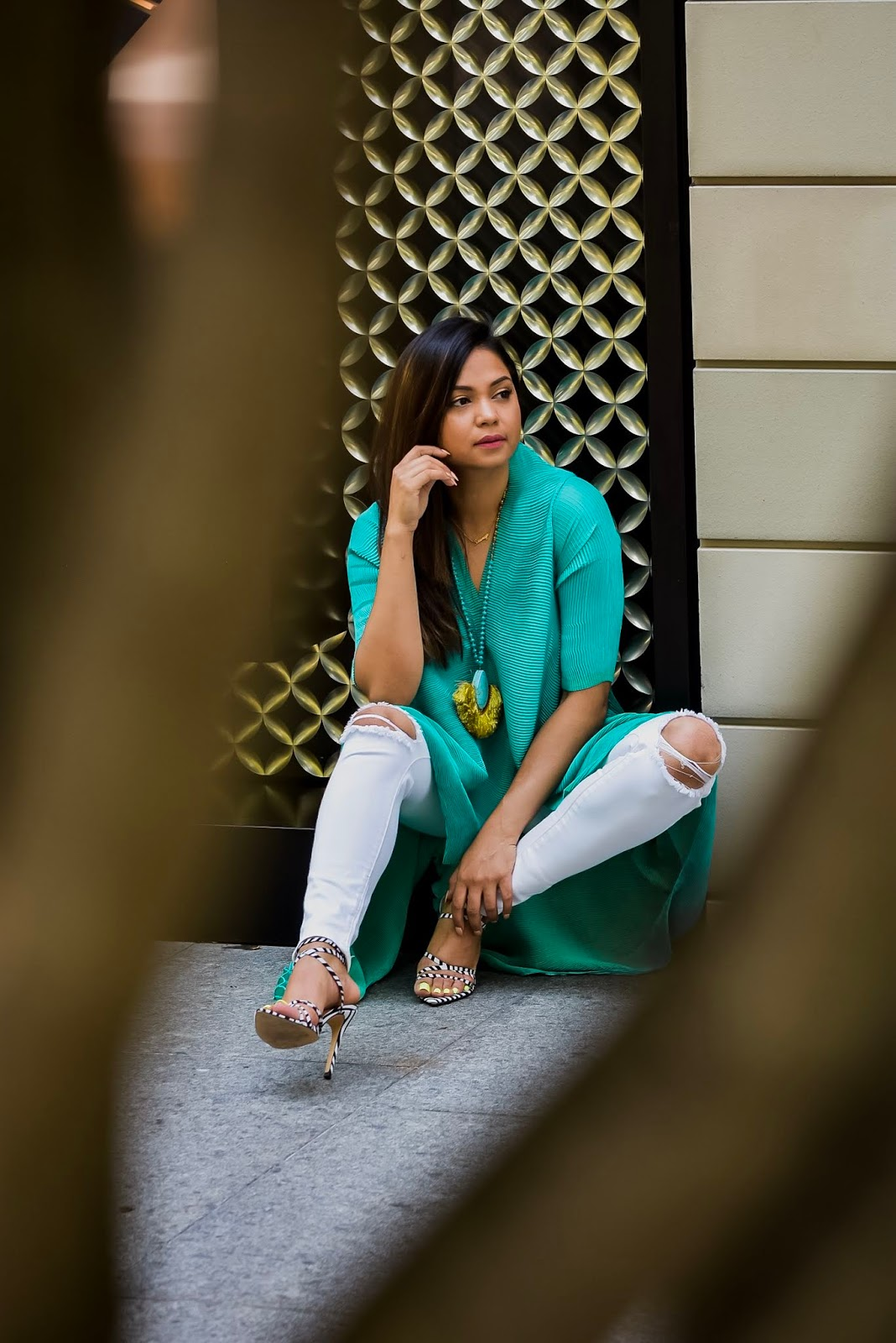 green cape, white jeans, summer outfit, tassel necklace, how to style a cape, street style, DC blogger, Fashion, zebra print heels, saumya shiohare