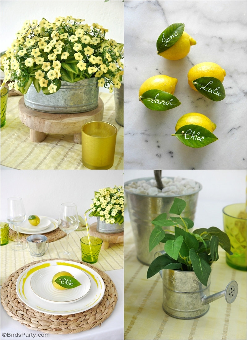 Décor de Table DIY sur le Thème du Citron  - DIYs faciles et idées pour créer une jolie table estivale d'été! by BirdsParty.com @birdsparty #diy #artdelatable #table #tablecitron #citron #decoestivale #decordetable