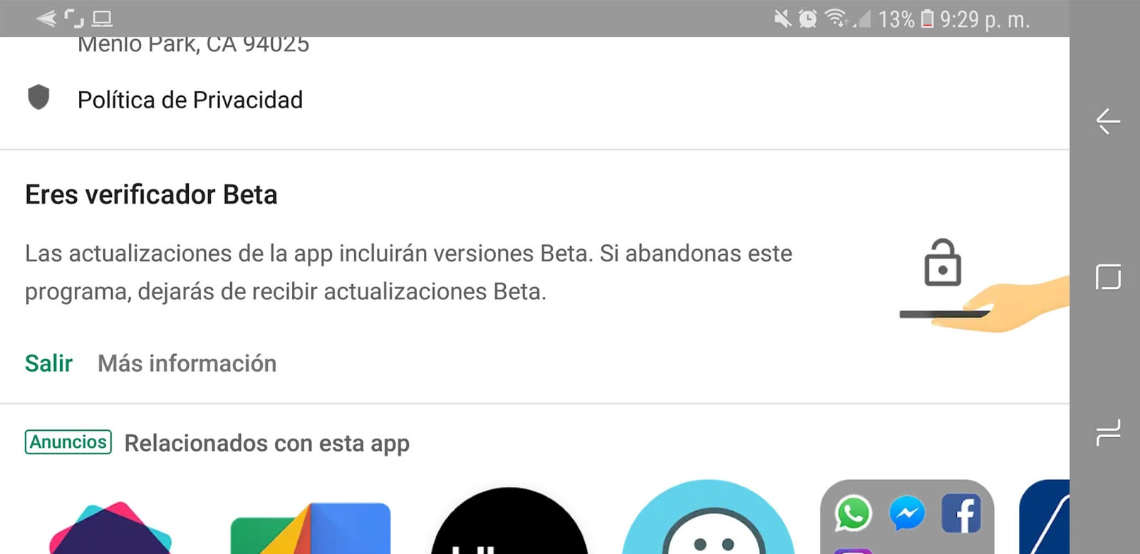 La sección beta de la lista de WhatsApp Play Store
