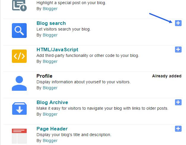 insert blogger widget