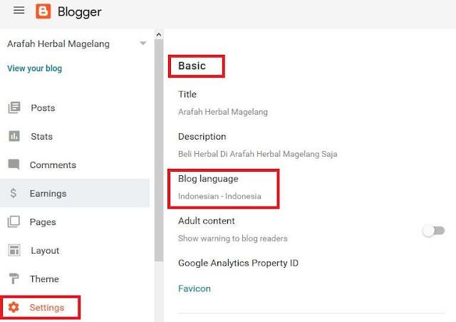 Mengubah Bahasa Dashboard Blogger Menjadi Bahasa Indonesia