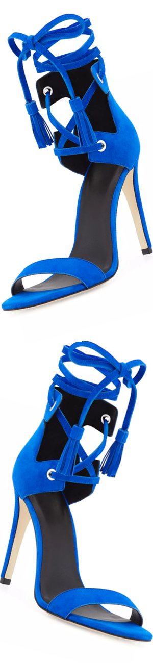 Rebecca Minkoff Riley Suede Lace-Up Sandal, Deep Sapphire