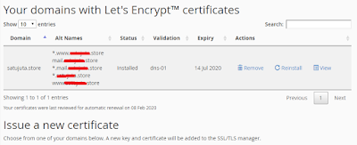 Pada halaman awal tepatnya di bawah your domain with lets encrypt certificate sekarang anda bisa melihat domain anda yang sudah bersertifikat lets encrypt